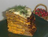 Миниатюра к статье Тортик из печени с овощами!