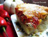 Миниатюра к статье Картофельная запеканка с курицей, баклажанами, перцем, томатами, луком, под сырной шубкой